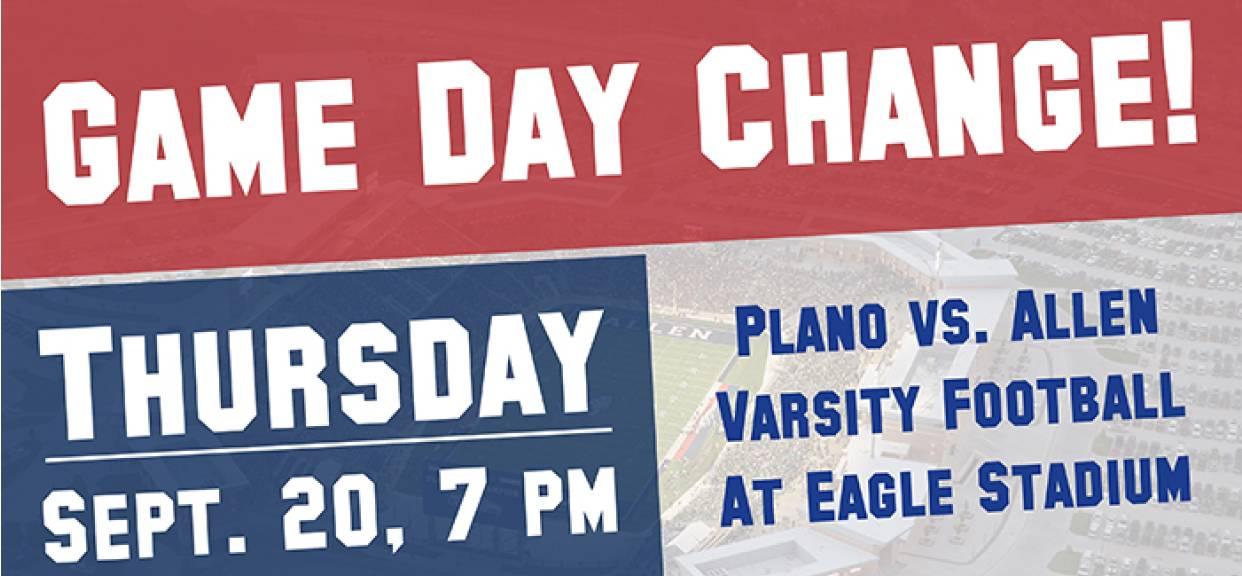 Varsity Football Game Moved To Thursday