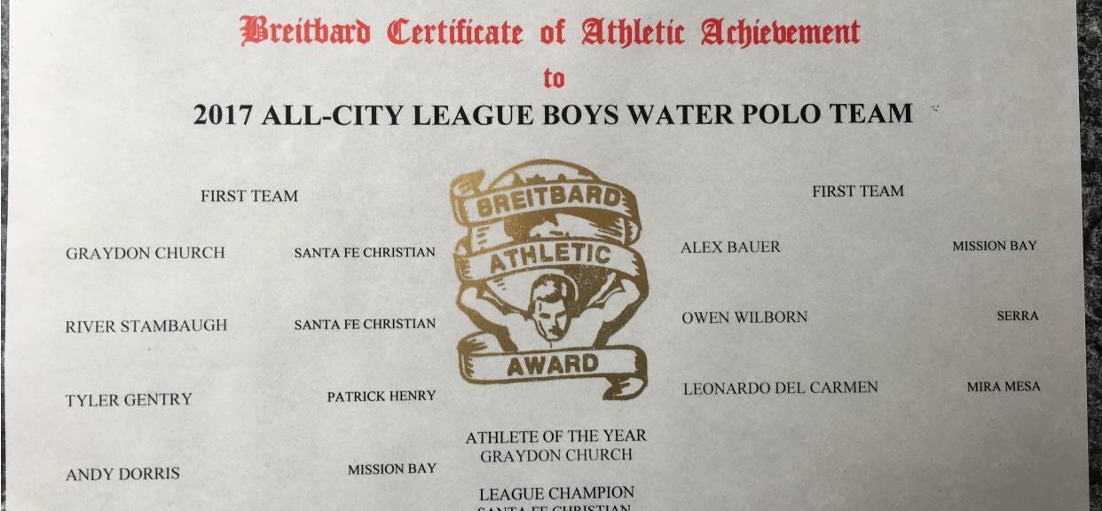 All City League Boys Water Polo Team